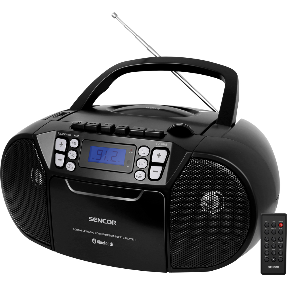 SPT 3907 B/W CD PLAYER/FM/BT/TAPE SENCOR